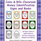 Money Identification Signs and Books, Coins and Bills, for
