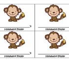 Monkey Homework Folder Label