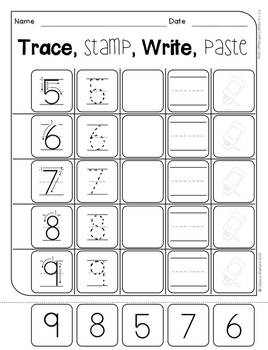 Monkey Madness - Trace, Stamp, Write (numbers)