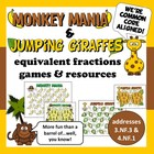 Monkey Mania & Jumping Giraffes – equivalent fraction game