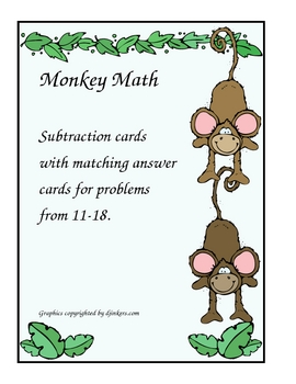 Monkey Math Subtraction Cards