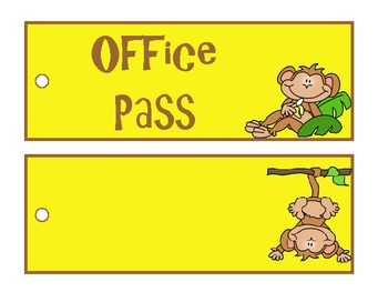 Monkey Theme Classroom Passes Set