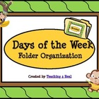 Monkey Themed Days of the Week File Folder Organization
