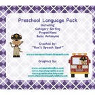 Monkey Themed Preschool Language Set-  Category Sort, Prep