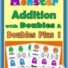 Monster Addition with Doubles and Doubles Plus 1 Matching