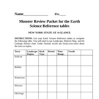 Monster Earth Science Reference Table Review Packet NYS