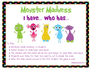 Monster Madness I have...Who has...