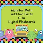 Monster Math Addition Digital Flashcards