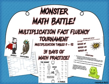Monster Math Battle! - Multiplication tables 0-12 - fact fluency