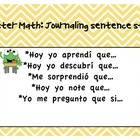 Monster Math Journaling Sentence Stems in Spanish