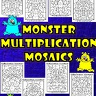 Monster Multiplication Mosaics- Set of 8- Fun Fact Practice