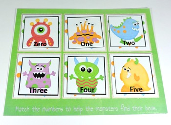 Monster Number Words Matching Activity