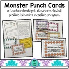 Monster Punch Cards (Positive Behavior Incentive Program)