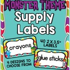 Monster Theme Classroom Supply Labels