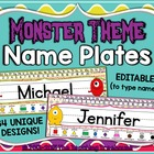 Monster Theme Name Plates ~ 34 Unique Designs ~ Editable