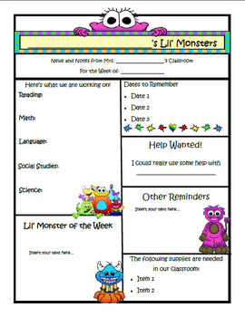 Monster Theme Newsletter Template - PUBLISHER