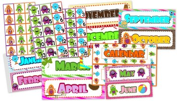 Monster Themed Classroom Calendar Set