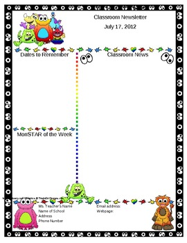 Monster Themed Classroom Newsletter Template - Editable