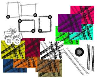 Monster Trucks Clip Art, Backgrounds, Frames