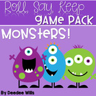 Monsters!!!! Game Pack Roll, Say, Keep-Editable