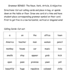 Montessori Grammar BINGO: Noun, Verb, Article & Adjective