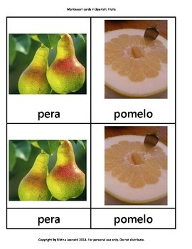 Montessori cards in Spanish FRUTAS
