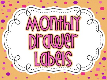 Month Labels For 3 Drawer Cart {Polka Dot}