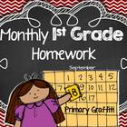 Monthly 1st Grade Homework Calendar {September}