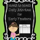 Monthly Calendar Activities for Early Finishers