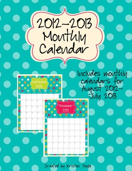 Monthly Calendar - Turquoise Dot Theme