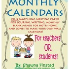 Monthly Calendars for Teachers or Students