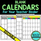 Monthly Calendars for Your Teacher Binder {Organization, T