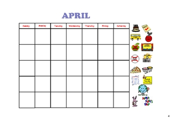 Monthly Calendars for the SMARTboard
