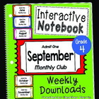 Interactive Notebook Monthly Club- September {4th grade}