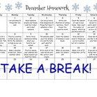 Monthly Homework Calendar - December