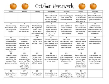 Monthly Homework Calendar - October