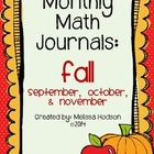 Monthly Math Journal: Fall Bundle (Sep., Oct., Nov.)