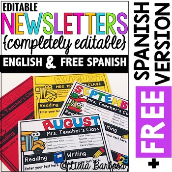 Monthly Newsletters in ENGLISH with Editable Text Boxes