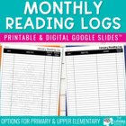 Monthly Reading Logs - Grades 1 &amp; 2