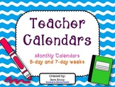 Monthly Teacher Calendars
