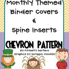 Monthly Themed Chevron Binder Covers &amp; Spines