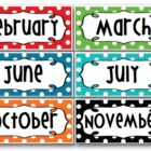 Months of the Year  Header - Rainbow Polka Dot - Word Wall
