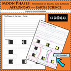 Moon Phase - Note Taking, Picture Sequencing, and Labeling