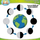 Moon Phases Clipart Set  Comes In Color and Black &amp; White!