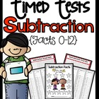 More Subtraction Timed Tests (0-12) Common Core Aligned