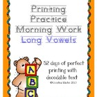 Morning Work Printing Practice {Long Vowels}