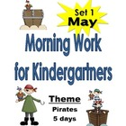 Morning Work for Kindergartners  May 5 pages  Set #1 Pirates