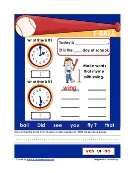 Morning Work for Kindergartners  May 5 pages  Set #3  T-Ball