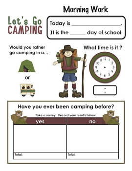 Morning Work for Kindergartners  May 5 pages  Set #4 Camping