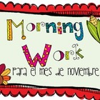 Morning Work para el mes de noviembre (SPANISH VERSION)